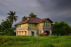 Trähus för typisk by i South East Asia med långt grönt gräs och palmträd omkring Royaltyfria Bilder