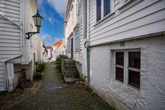 Trähus i Bergen, Norge Arkivfoton
