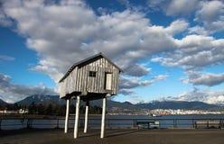 Trähus i den Vancouver hamnen Royaltyfri Foto