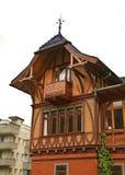 Trähus i Engelberg switzerland Royaltyfria Bilder