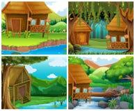 Trähus i skog royaltyfri illustrationer