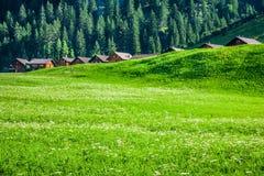 Trähus i Steg, Malbun, i Lichtenstein, Europa Royaltyfria Bilder