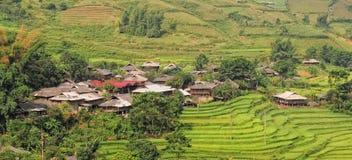 Trähus med den terrasserade risfältet i Dien Bien, nordliga Vietnam Fotografering för Bildbyråer