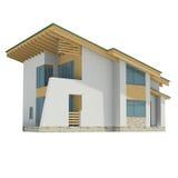 Trähus med ett grönt tak Arkivbild