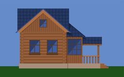 Trähus med loften och farstubron Fotografering för Bildbyråer