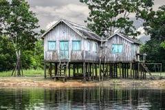 Trähus på flodbanken, Amazon River, Brasilien. Royaltyfri Foto