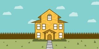 Trähus till salu Real Estate Arkivbild