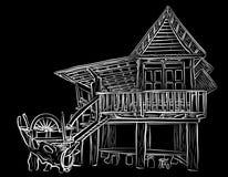 Trähuset skissar vektor illustrationer
