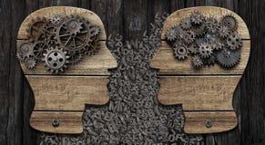 Tr?huvud med kugghjul svart telefon f?r kommunikationsbegreppsmottagare royaltyfri foto