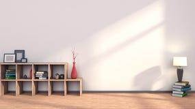 Trähylla med vaser, böcker och lampan Arkivfoto