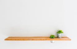 Trähylla på den vita väggen med den gröna växten Arkivfoton
