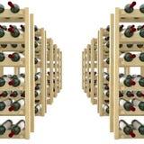 Trähyllor med flaskor av vinisolaten på vit bakgrund vektor illustrationer