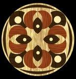 Träinlägg-, ljus- och mörkerträmodeller i cirkelsammansättning Fanér texturerad antik geometrisk prydnad Träkonst stock illustrationer