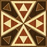 Träinlägg-, ljus- och mörkertriangelmodeller Fanér texturerad antik geometrisk prydnad Träkonstgarneringmall stock illustrationer