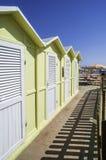 Träkabiner på stranden Royaltyfria Bilder