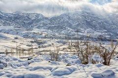 Träkapell i snöig en norr skogvinter Vinter i bergby Arkivfoton