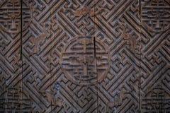 träkinesisk dörr arkivbilder