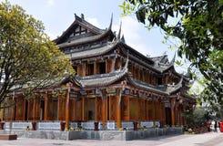 träklassisk dujiangyan teahouse för porslin Fotografering för Bildbyråer