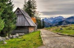 Träkoja i berg Arkivbild