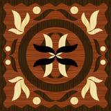 Träkonstinläggtegelplattan, den geometriska prydnaden från mörker och ljusträ i tappning utformar vektor illustrationer