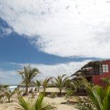 Träkonstruktion på stranden i Punta Sal Peru royaltyfri bild
