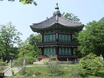 Träkoreansk pagodstilbyggnad Arkivbild