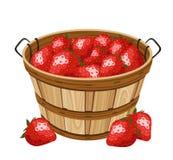 Träkorg med jordgubben. Vektorillustration Arkivfoto