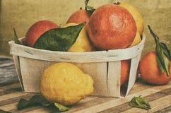 Träkorg med saftiga citrurs Apelsiner och citroner arkivbilder