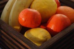Träkorg med tropiska frukter Saftiga mandariner, apelsin, citron och banan Mogna frukter för sött vitamin Arkivfoto