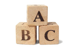 Träkvarter med ABC märker Fotografering för Bildbyråer