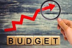 Träkvarter och inskriften 'budget 'och den övre pilen Begrepp av affärsframgång, finansiell tillväxt och rikedom Förhöjningpr royaltyfria foton