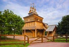 Träkyrka i Kolomenskoe - Moskva Ryssland Fotografering för Bildbyråer