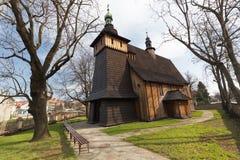 Träkyrka i Tarnowen/Polen Arkivfoto