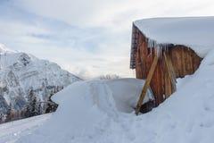 Träladugård under snö på en bergsida arkivfoton