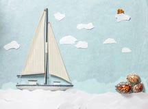 Träleksaksegelbåt på blå bakgrund Fotografering för Bildbyråer