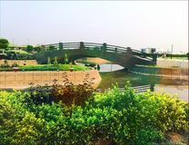 Träliten bro i trädgård Royaltyfria Foton