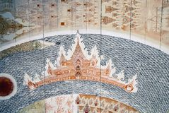 Trämålad thai tempel för mycket gammal hand Arkivfoton