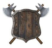 Trämedeltida heraldisk sköld med den korsade illustrationen för stridyxor 3d stock illustrationer