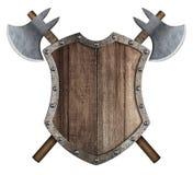 Trämedeltida heraldisk sköld med den korsade illustrationen för stridyxor 3d royaltyfri illustrationer