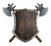 Trämedeltida sköld med den korsade illustrationen för yxor 3d royaltyfri illustrationer