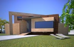 Trämodernt hus stock illustrationer
