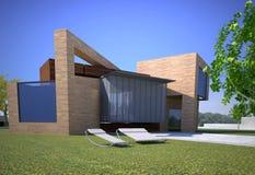 Trämodernt hus vektor illustrationer