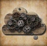 Trämoln med rostiga kugghjul på grungebakgrund Royaltyfria Bilder