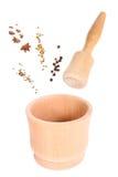 Trämortel för krydda. isolerad collage Royaltyfri Fotografi