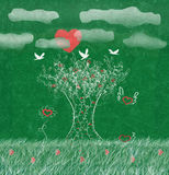 Trän av förälskelsesolen som hjärta, duvor träd gräs Royaltyfri Foto
