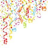 Tränga någon färgrika banderoller och konfettier upp vänstersida vektor illustrationer