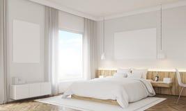Tränga någon sikten av sovrummet med hyllor och dörren vektor illustrationer