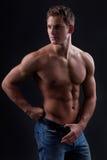 Tränga sig in den sexiga nakna unga mannen som poserar i jeans Arkivfoton