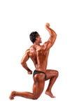 Tränga sig in manlig modell som poserar i studio på ett ljus Fotografering för Bildbyråer