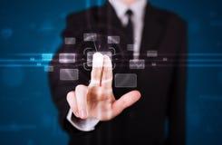 Trängande tekniskt avancerad typ för affärsman av moderna knappar Arkivfoton